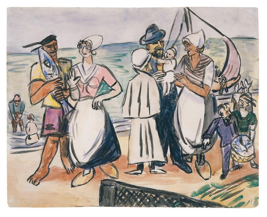 Holländische Fischer am Strand, 1936