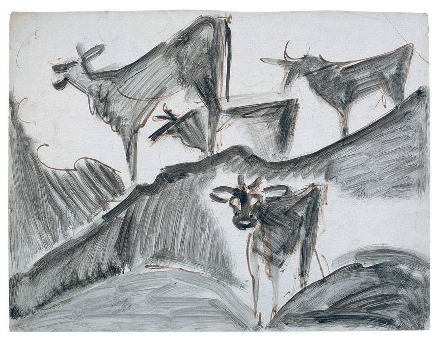Ernst Ludwig Kirchner 4 Kühe, um 1918