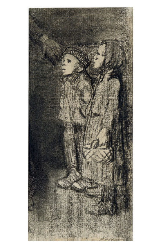 Käthe Kollwitz Zwei stehende Kinder, 1909