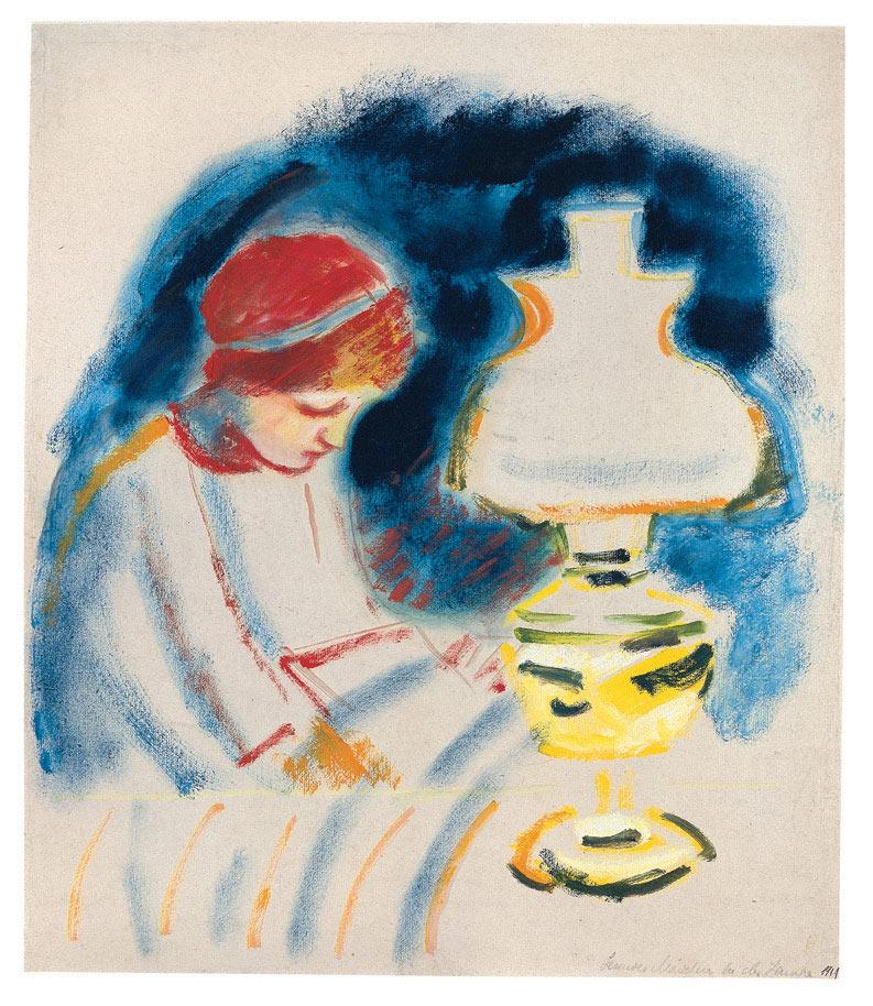 Lesendes Mädchen bei der Lampe, 1911