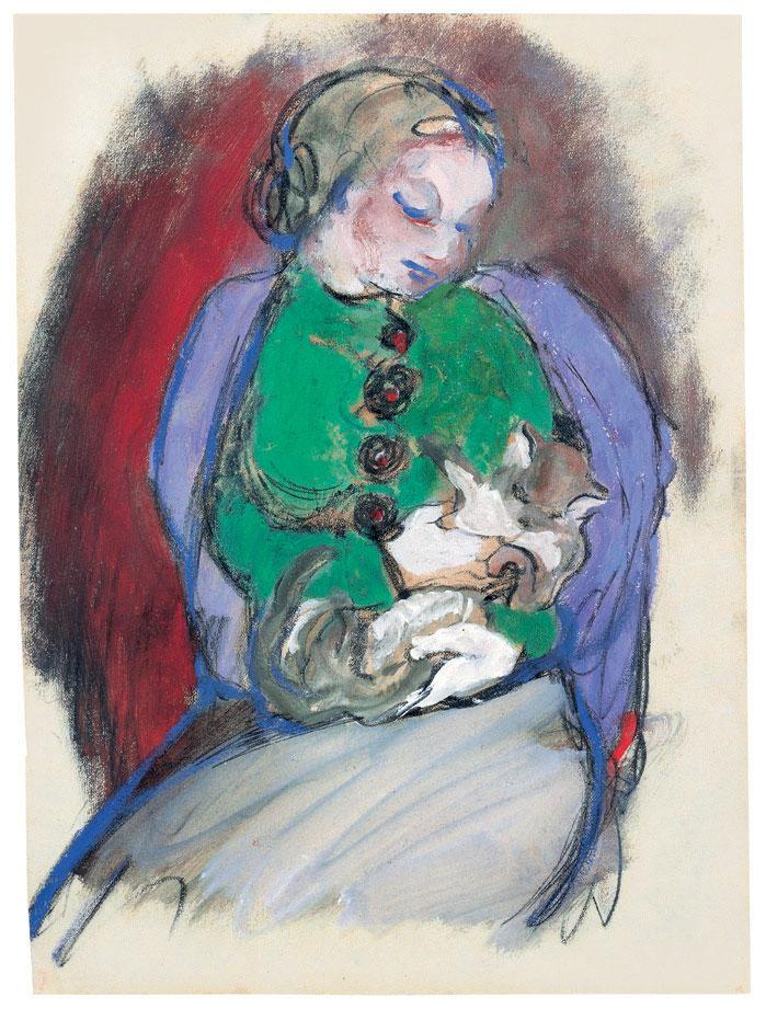 Mädchen mit Katze, 1910