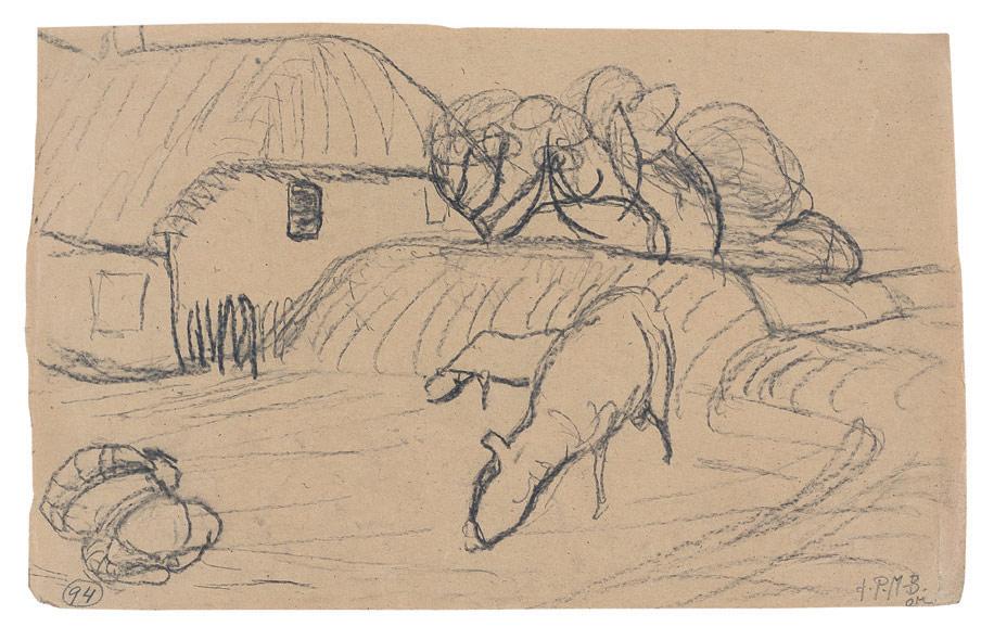Haus auf Amrum mit Schafen, 1903