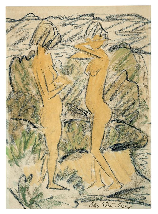Zwei stehende Mädchenakte in Dünen, um 1920